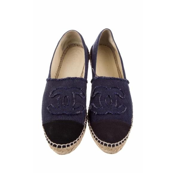 41a119659 CHANEL Shoes   Canvas Espadrille Flats Size 39   Poshmark
